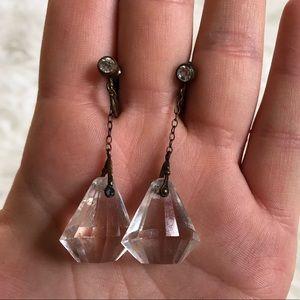 Brass & rhinestone Crystal Screw back earrings